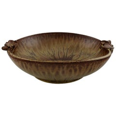 Arne Bang, Denmark, Bowl in Glazed Ceramics Decorated with Foliage, 1940s