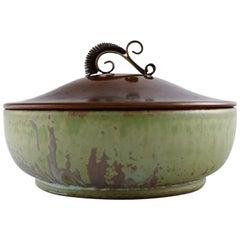 Arne Bang, Denmark, Jar in Glazed Ceramic with Bronze Lid, 1940s