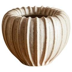 Arne Bang Fluted Round Vase in Bisque Glaze