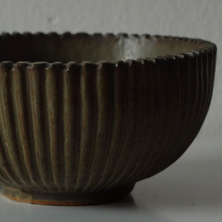 Danish Arne Bang for Royal Copenhagen, Ribbed Ceramic Bowl, 1940s