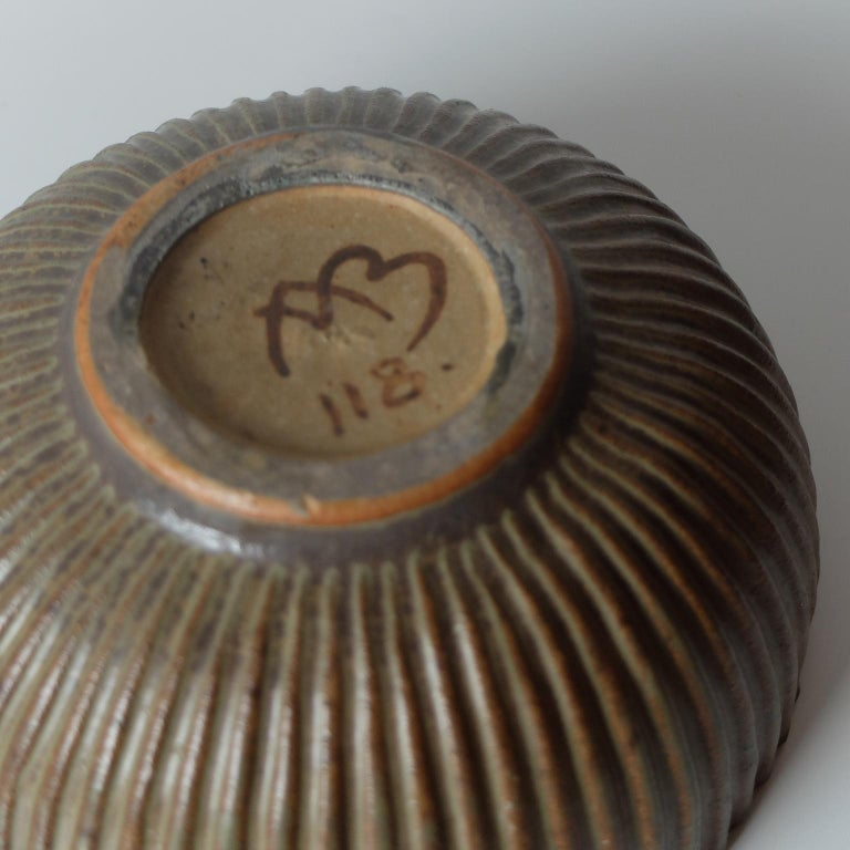 Mid-20th Century Arne Bang for Royal Copenhagen, Ribbed Ceramic Bowl, 1940s