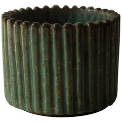 "Arne Bang for Royal Copenhagen, Ribbed ""Model 198"" Ceramic Stoneware Bowl, 1940s"
