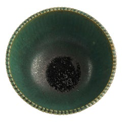 Arne Bang, Green Ribbed Bowl, Denmark, 1930s