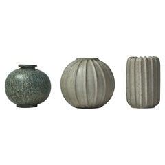 Arne Bang Group of Art Deco Stoneware Vases from Own Studio, 1930s