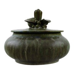Arne Bang, Lidded Jar in Glazed Ceramics, Lid Decorated with Foliage, 1930s