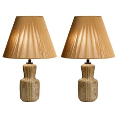 Arne Bang, Pair of Glazed Ceramic Lamps, Denmark, 1930s