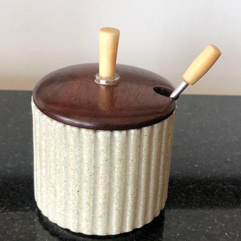 Mid-Century Modern Arne Bang Pottery Jam or Mustard Pot with Teak Lid and Silver Spoon For Sale