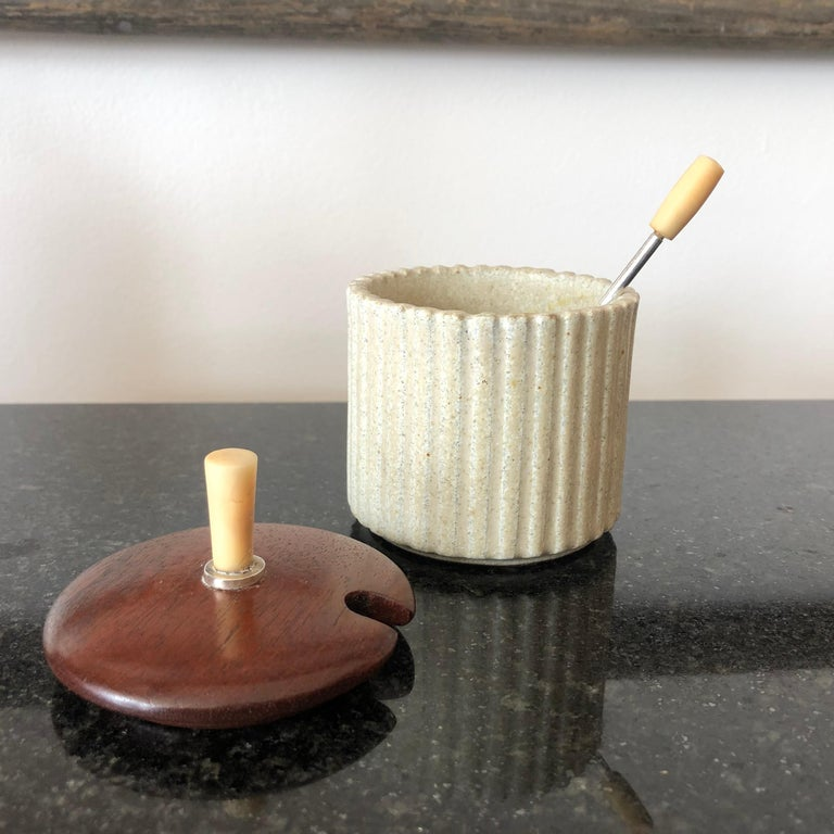 Danish Arne Bang Pottery Jam or Mustard Pot with Teak Lid and Silver Spoon For Sale
