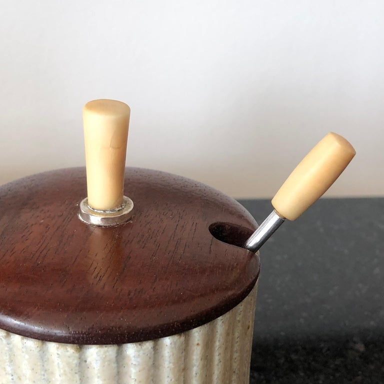 Arne Bang Pottery Jam or Mustard Pot with Teak Lid and Silver Spoon In Good Condition For Sale In Essex, MA