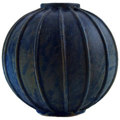 Arne Bang, Rare Spherical Shaped Art Deco Vase of Stoneware, in Fluted Style
