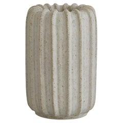 Arne Bang Ribbed Stoneware Vase with off White Glaze, Own Studio, 1930s