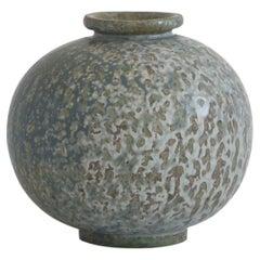 Arne Bang Round Stoneware Vase with Freckled Glazing, Own Studio, 1930s