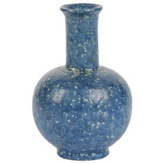 Arne Bang, Small Speckled Blue Ceramic Vase, Denmark, 1930s