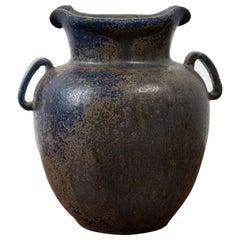 Arne Bang Small Stoneware Urn in Dark Glaze, Denmark, 1950s
