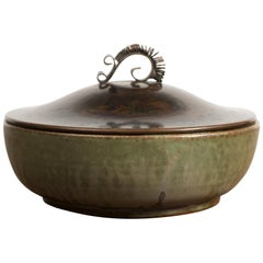 Arne Bang Stoneware Bowl with Bronze Lid, 1940s