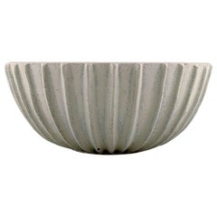 Arne Bang, Stoneware Bowl with Fluted Corpus, 1930s