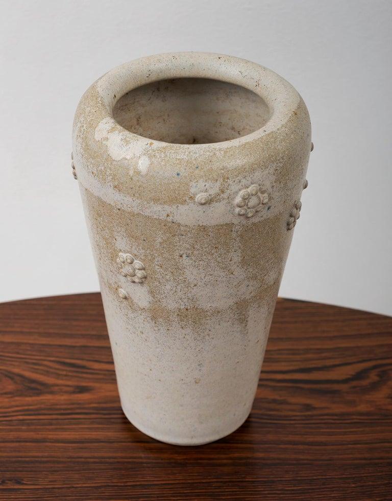Scandinavian Modern Arne Bang Stoneware Vase with Applied Florets, Denmark, 1950s For Sale