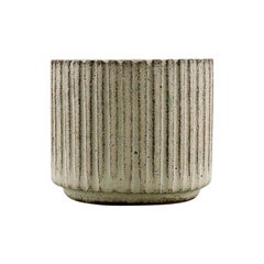 Arne Bang, Stoneware Vase with Fluted Corpus Decorated with Sand Colored Glaze