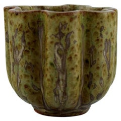 Arne Bang, Vase in Glazed Ceramics, Beautiful Glaze in Green and Brown Shades