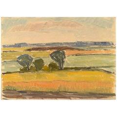 Arne Brodin, Swedish Painter, Modernist Landscape, 1960s