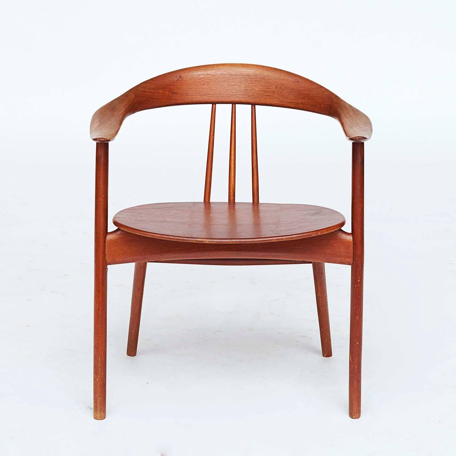 Danish Modern Armchair By Arne Hovmand Olsen Armchair, Model 308, Solid  Teakwood With Leather
