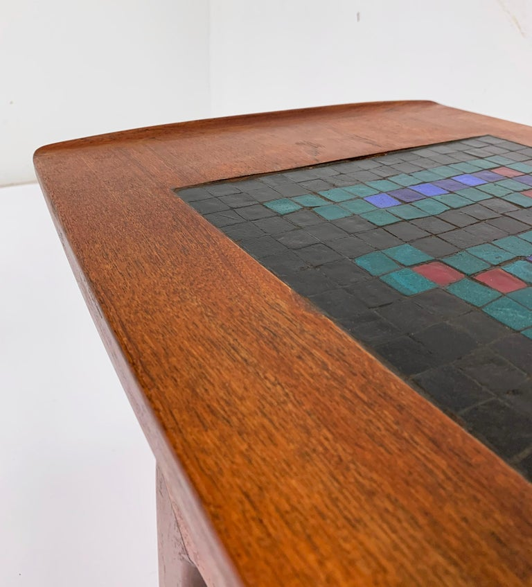 Mid-20th Century Arne Hovmand-Olsen Danish Teak Coffee Table With Glass Tile Accent, circa 1950s For Sale
