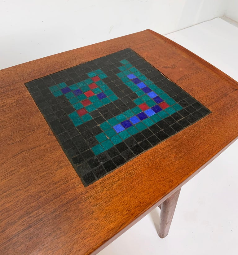 Cane Arne Hovmand-Olsen Danish Teak Coffee Table With Glass Tile Accent, circa 1950s For Sale