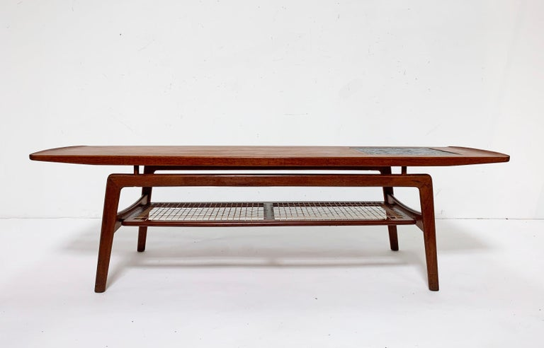 Arne Hovmand-Olsen Danish Teak Coffee Table With Glass Tile Accent, circa 1950s For Sale 2
