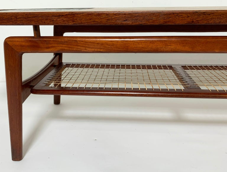 Arne Hovmand-Olsen Danish Teak Coffee Table With Glass Tile Accent, circa 1950s For Sale 3