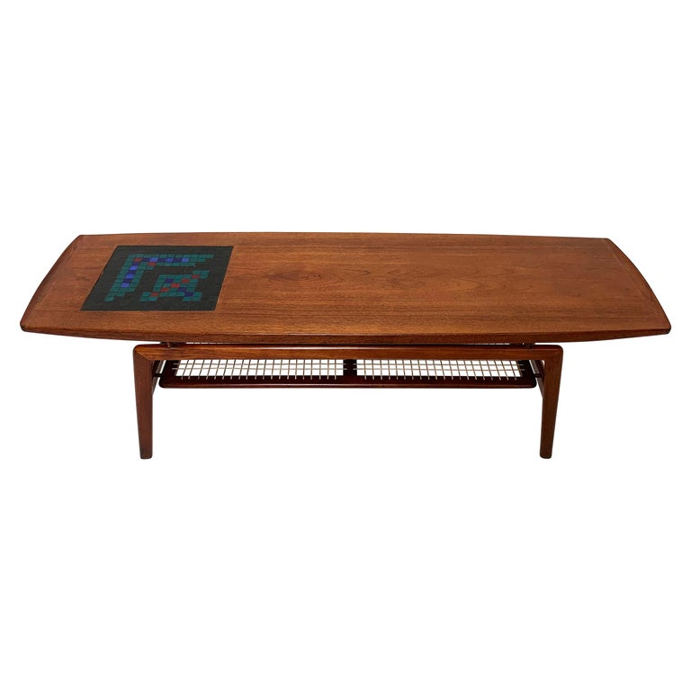 Arne Hovmand-Olsen Danish Teak Coffee Table With Glass Tile Accent, circa 1950s For Sale