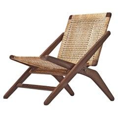 Arne Hovmand-Olsen Foldable Easy Chair in Wood and Wicker