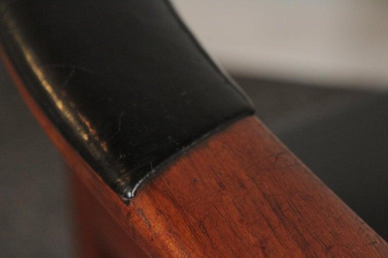 Danish Arne Hovmand-Olsen for Jutex Teak and Leather Rounded Back Chair, 1957 For Sale