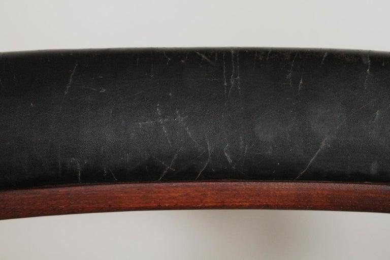 Arne Hovmand-Olsen for Jutex Teak and Leather Rounded Back Chair, 1957 For Sale 1
