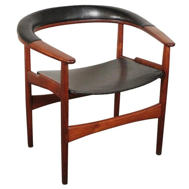 Arne Hovmand-Olsen for Jutex Teak and Leather Rounded Back Chair, 1957 For Sale