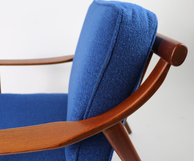 Upholstery Arne-Hovmand Olsen for Mogens Kold Danish Modern Teak Frame Lounge Chair For Sale