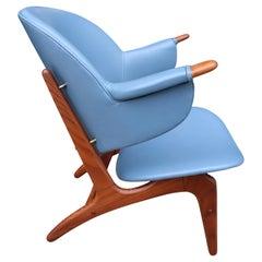 Arne Hovmand-Olsen Lounge Chair in Blue Leather