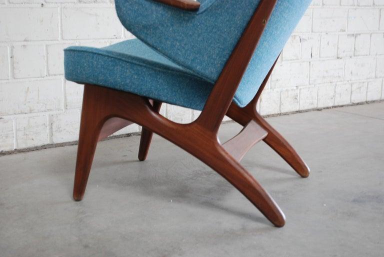 Fabric Arne Hovmand Olsen Pair of Easy Lounge Chair, 1960s For Sale