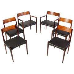 Arne Hovmand Olsen Rosewood Dinning Chair Set for Mogens Kold, Denmark, 1950s