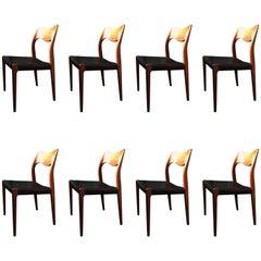 Arne Hovmand Olsen, rosewood Model 71 Chairs, Set of Eight