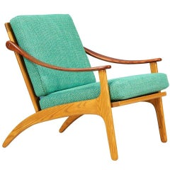 Arne Hovmand-Olsen Teak and Oak Lounge Chair for Mogens Kold