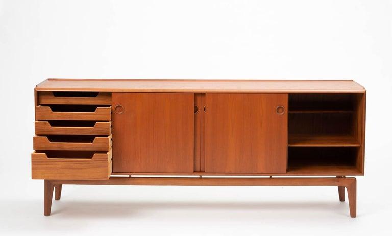 Arne Hovmand Olsen Teak Credenza In Excellent Condition For Sale In Los Angeles, CA