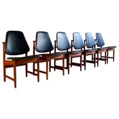 Arne Hovmand-Olsen Teak Dining Chairs Set of Six Hovmand-Olsen, 1950s