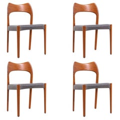 Arne Hovmand-Olsen Teak & Leather Dining Chairs for Mogens Kold