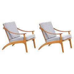 Arne Hovmand-Olsen Teak and Oak Lounge Chairs for Mogens Kold