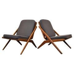 "Arne Hovmand Olsen Teak ""Siccors"" Chairs, Set of Two"
