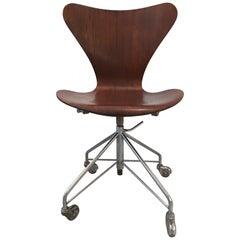 Arne Jacobsen 3117 Teak Swivel Desk Chair by Fritz Hansen, circa 1950s