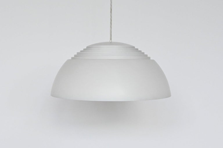 """Iconic AJ Royal pendant lamp designed by Arne Jacobsen for the SAS Royal Hotel in Copenhagen, manufactured by Louis Poulsen in Denmark 1957. This lamp was one of the most popular Mid-Century Modern lamps in the 1960s and it won the """"Bondsprijs Gute"""