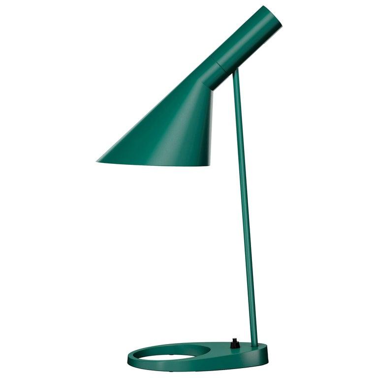 Arne Jacobsen AJ Table Lamp in Dark Green for Louis Poulsen For Sale