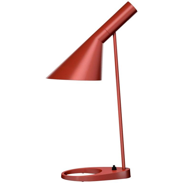 Arne Jacobsen AJ Table Lamp in Red for Louis Poulsen For Sale