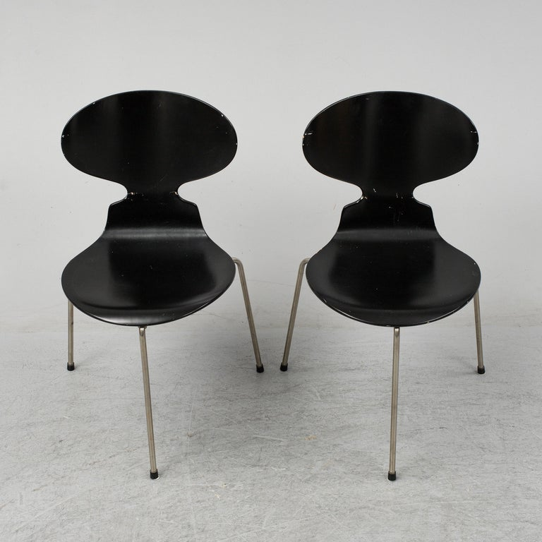 20th Century Arne Jacobsen Ant Chairs, Original Set from Early Production, 1952 For Sale